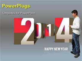PowerPoint template displaying new year depiction with young man and new year text on grey background