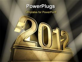 PowerPoint template displaying number 2012 on a golden pedestal at a black background
