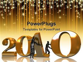 PowerPoint template displaying two black silhouettes trying to form 2010 with shining stars flowing down on golden background