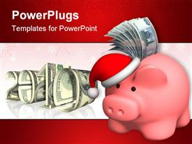PowerPoint template displaying piggy bank - Money to Christmas. Object over white