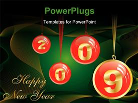 Red Christmas balls forming 2009 hanging with Happy New Year message powerpoint theme