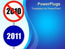 PowerPoint template displaying 2010 and 2011 round signs with red line cancelling year 2010