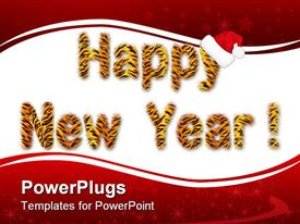 There is an tiger inscription of Happy New Year powerpoint design layout