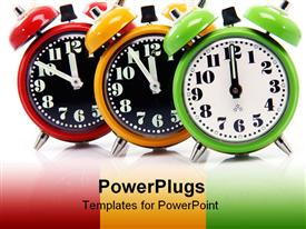 Timing red yellow and green alarm clock until twelve o'clock close-up powerpoint theme