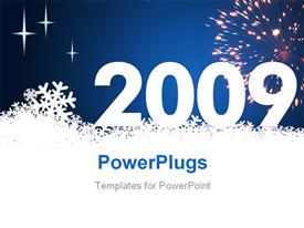 PowerPoint template displaying new year depiction with snowflakes and fireworks in night sky