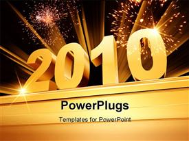 PowerPoint template displaying the new year of 2010 with fireworks in the background