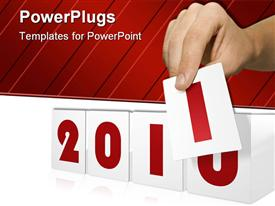 PowerPoint template displaying the new year celebration with white and red background