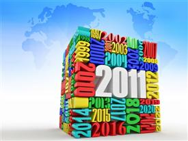 PowerPoint template displaying new year 2011. Cube consisting of the numbers. 3D in the background.