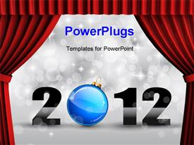 PowerPoint template displaying colorful New Year Celebration Background with Glitter and Blue Bauble