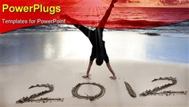 Happy new year 2011 on the beach of sunrise . young man handstand and celebrate presentation background