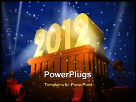 New Year 2012 celebration concept, shiny golden 2012 on pedestal in a snowy weather powerpoint theme