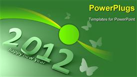 PowerPoint template displaying rendering Conceptual creative depiction new year 2012 falling text