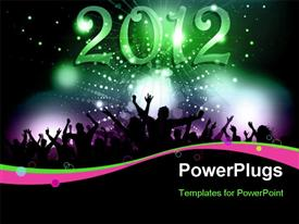 PowerPoint template displaying silhouette of a party crowd on a New Years background