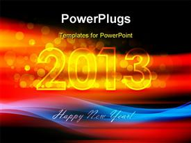 PowerPoint template displaying happy new year text with fiery 2013 over black background