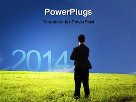 PowerPoint template displaying a professional standing on the grass with bluish background