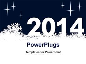 PowerPoint template displaying new year depiction with snowflakes and new year text