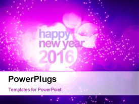 PowerPoint template displaying abstract new year 2016 concept with purple bokeh and sparkling effect in the background