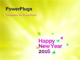 PowerPoint template displaying new year depiction with colorful butterflies on green background