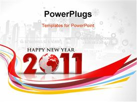 Abstract new year 2011 colorful design template for powerpoint