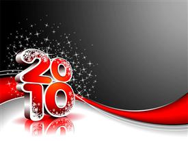 PowerPoint template displaying happy New Year depiction for 2010