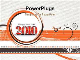 PowerPoint template displaying new year 2010 in abstract wave line background
