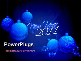 PowerPoint template displaying new year's background with baubles and lines depiction in blue background