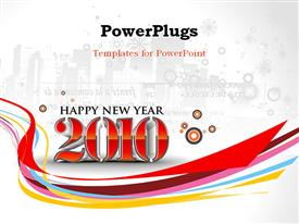 PowerPoint template displaying urban city background with new year 2010