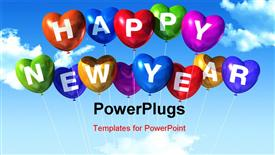 Colored Happy new year heart shaped balloons floating in a blue sky powerpoint theme