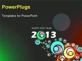 PowerPoint template displaying abstract design new year 2013 circles grey surface