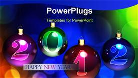 PowerPoint template displaying christmas balls on colorful background. 3D