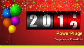 New year illustration with stars and balloons and counter powerpoint design layout