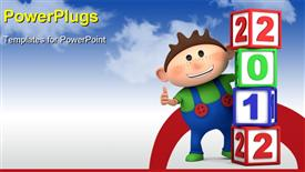 PowerPoint template displaying cute cartoon boy giving thumbs up from behind 2012 number