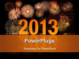 PowerPoint template displaying reflective 2D year 2013 with fireworks in night sky
