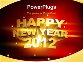 PowerPoint template displaying beautiful golden happy new year 2012 background
