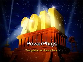 PowerPoint template displaying cinema like New Year 2011 celebration concept