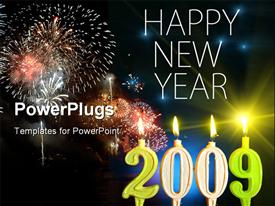 PowerPoint template displaying happy New Year 2009 - Burning candles (2009) close-up in the background.