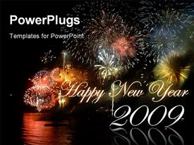 PowerPoint template displaying new year fireworks display