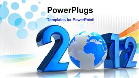PowerPoint template displaying creative 2012 New Year concept with blue Earth globe on white reflective background