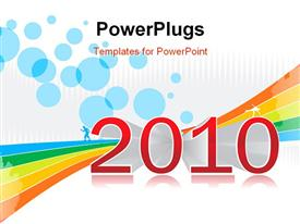 PowerPoint template displaying new year concept with postcard 2010