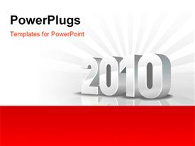 PowerPoint template displaying 2010 year calendar and new year gray