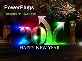 PowerPoint template displaying new year 2011 in colorful background design in the background.