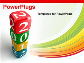 PowerPoint template displaying new Year 2012 3D Colorful Dice Tower