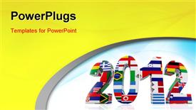 PowerPoint template displaying year 2012 in 3D with flags from different countries