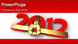 PowerPoint template displaying 2012 packed in a golden ribbon and bow