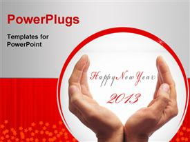 Happy new year with hands forming a cup powerpoint design layout