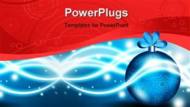 PowerPoint template displaying a pretty blue Christmas ornament on a red and blue background
