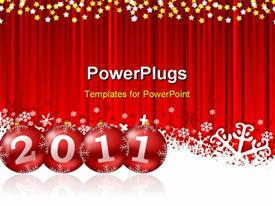 PowerPoint template displaying a red curtain with the new year celebration of 2011