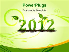 PowerPoint template displaying ecology natural concept of year 2012, nice and green in the background.