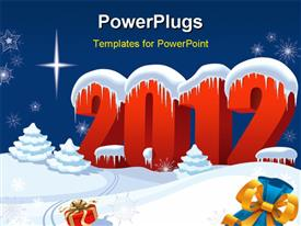 PowerPoint template displaying new Year night and presents lost by Santa Claus