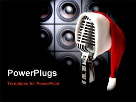 PowerPoint template displaying retro microphone with Santa cap and speakers in background